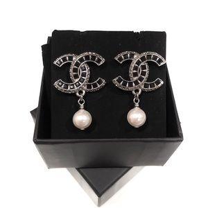 Chanel CC Logo Pearl Drop Dangle Earrings